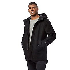 Red Herring - Black wool blend parka