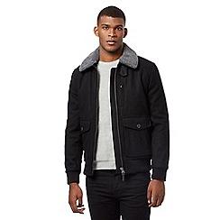 Red Herring - Black sherpa wool blend trim jacket
