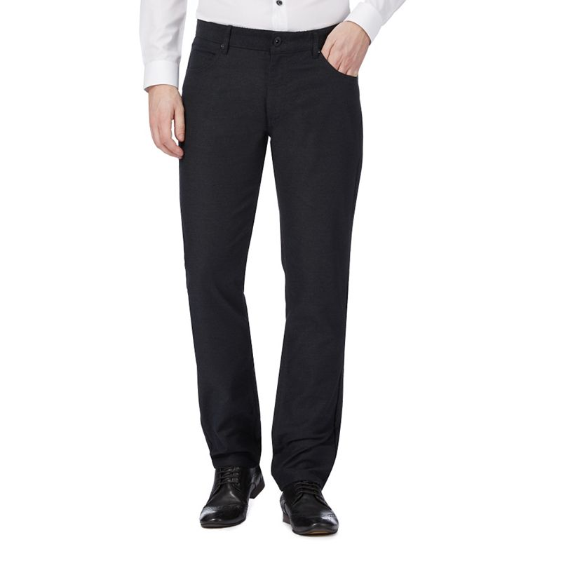 Red Herring Dark Grey Straight Leg Trousers, Mens, Size: 36R