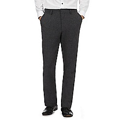 Red Herring - Dark grey herringbone slim fit trousers with wool