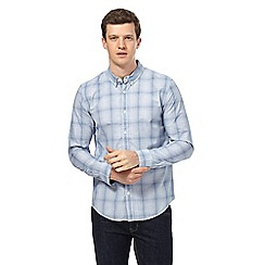 Red Herring - Big and tall blue checked slim fit shirt