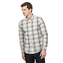 Red Herring - Big and tall grey checked slim fit shirt