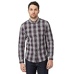 Red Herring - Big and tall dark red checked print slim fit shirt