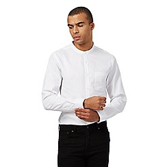 Red Herring - White waffle textured slim fit granddad shirt