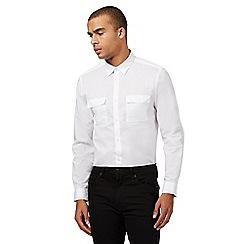 Red Herring - White military slim fit shirt