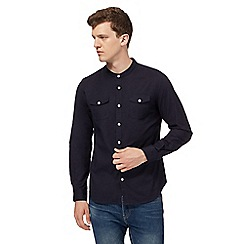 Red Herring - Big and tall navy military slim fit granddad oxford shirt