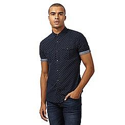 Red Herring - Navy cross stitched slim shirt