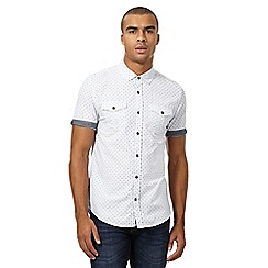 Red Herring - White cross stitched slim shirt