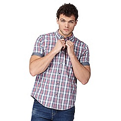 Red Herring - Big and tall red textured check print button down shirt