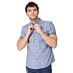 Red Herring - Big and tall bue check print button down shirt