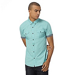 Red Herring - Green slub semi plain shirt