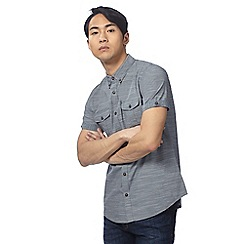 Red Herring - Navy textured short sleeved shirt
