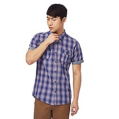 Red Herring - Navy short sleeve cross check button down shirt