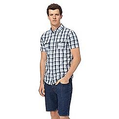 Red Herring - Blue and white short sleeved slub gingham shirt