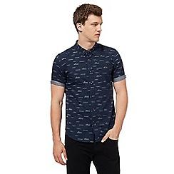 Red Herring - Navy wave print slim fit shirt