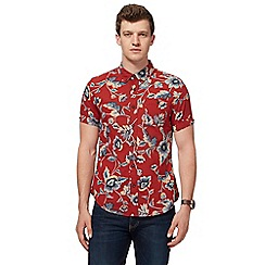 Red Herring - Big and tall dark red floral print slim fit shirt