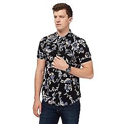 Red Herring - Black floral print slim fit shirt