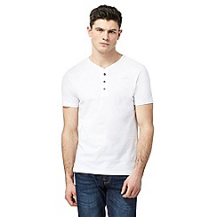 Red Herring - Big and tall white button collar t-shirt