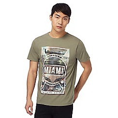 Red Herring - Big and tall khaki miami print t-shirt