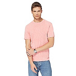 Red Herring - Big and tall pink rolled sleeve acid wash t-shirt