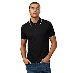 Red Herring - Black textured polo shirt
