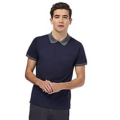 Red Herring - Big and tall navy textured collar polo shirt