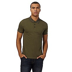Red Herring - Big and tall khaki contrast collar polo shirt