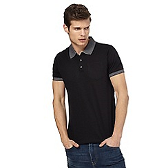 Red Herring - Big and tall black contrast collar polo shirt
