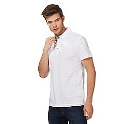 Red Herring - Big and tall white textured striped polo shirt