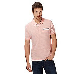 Red Herring - Big and tall light pink textured pocket polo shirt