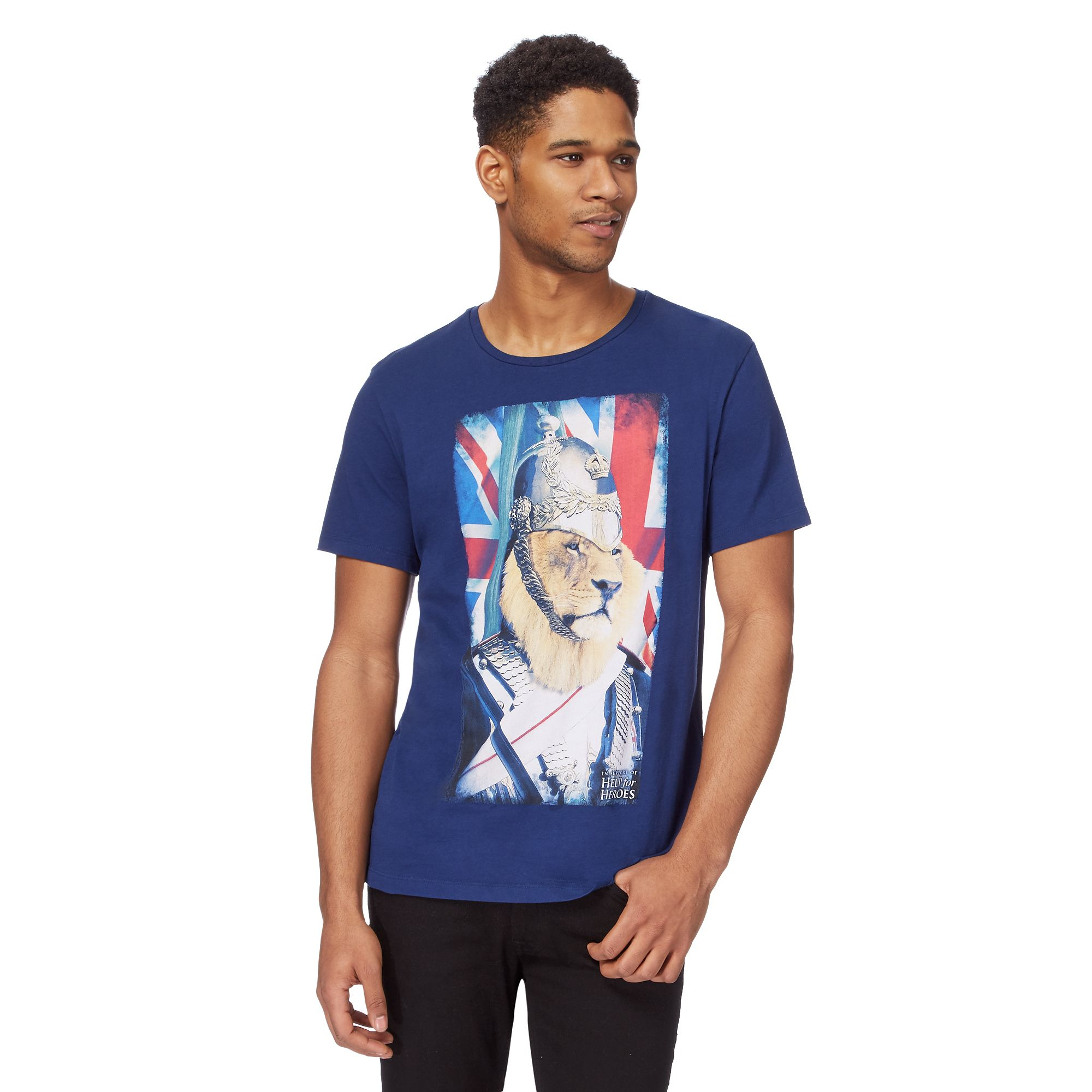 help for heroes mens big and tall navy lion printed t