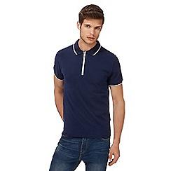 Red Herring - Navy zip neck polo shirt