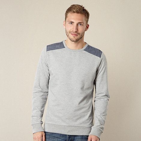 Red Herring - Grey chambray shoulder patch jumper