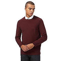 Red Herring - Big and tall dark red textured jumper