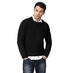 Red Herring - Big and tall black textured jumper