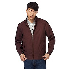 Red Herring - Big and tall dark red 'harrington' zip through jacket