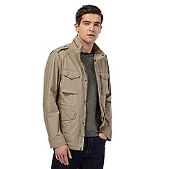 Red Herring - Big and tall natural zip-through army jacket