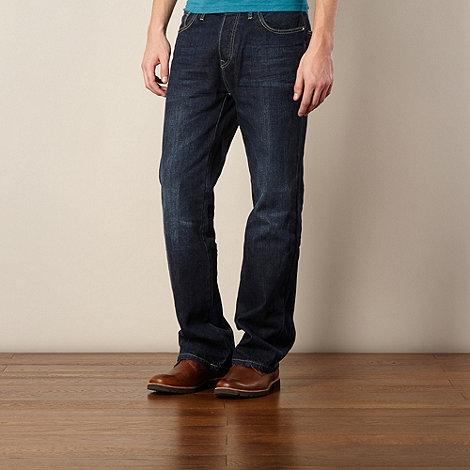 St George by Duffer - Dark blue bootcut stitch jeans
