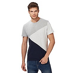 Red Herring - Big and tall navy and grey colour block t-shirt