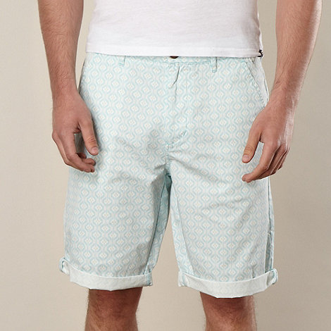 Red Herring - Light green tribal square shorts