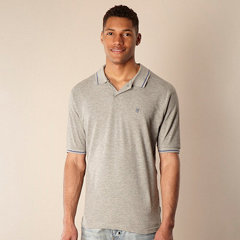 Fenchurch - Grey plain pique polo shirt