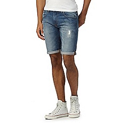 Red Herring - Mid blue distressed denim shorts