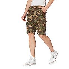 Red Herring - Khaki camouflage print cargo shorts