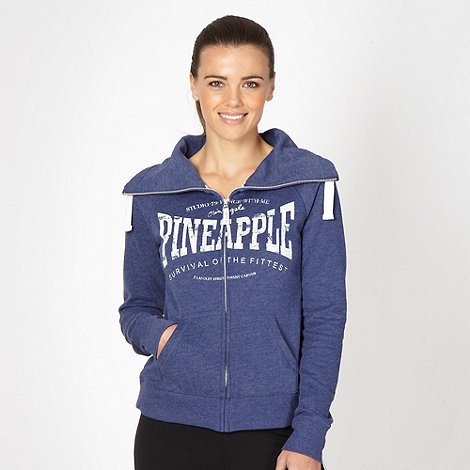 Pineapple - Pineapple dark blue zip through logo hoodie