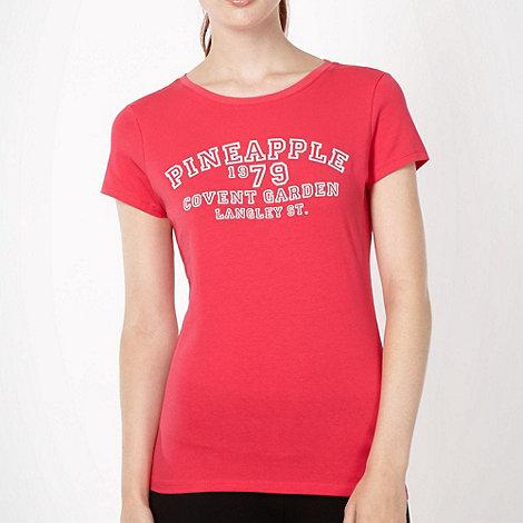 Pineapple - Pineapple pink velvet slogan t-shirt