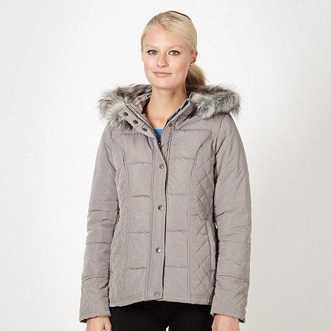 Pineapple - Grey padded faux fur zip coat