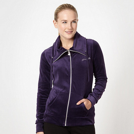 Pineapple - Dark purple velour zip through hoodie
