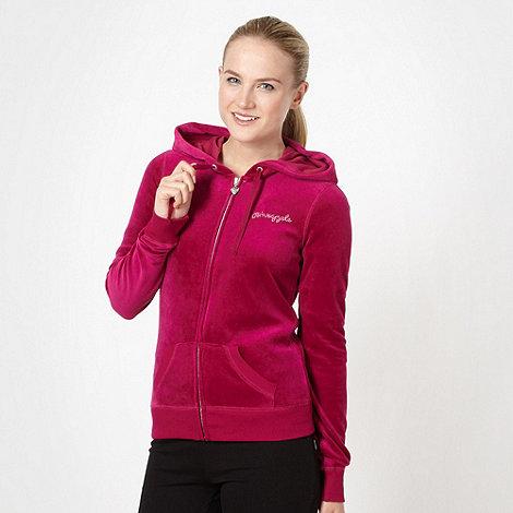 Pineapple - Dark pink velour zip through hoodie