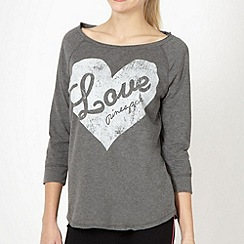 Pineapple - Grey jersey heart print top