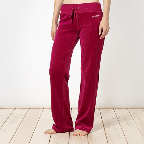 Pineapple - Dark pink velour jogging bottoms